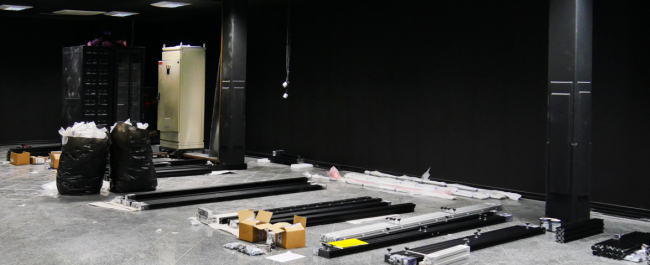 The framework for the powerwall and the projectors